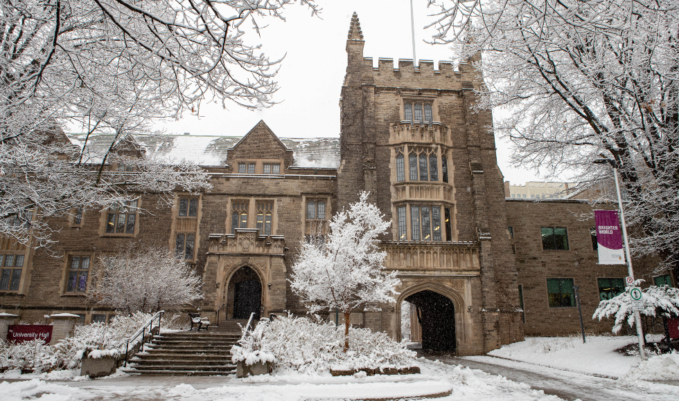 A view of Mcmaster's UNiversity Hall in the snow
